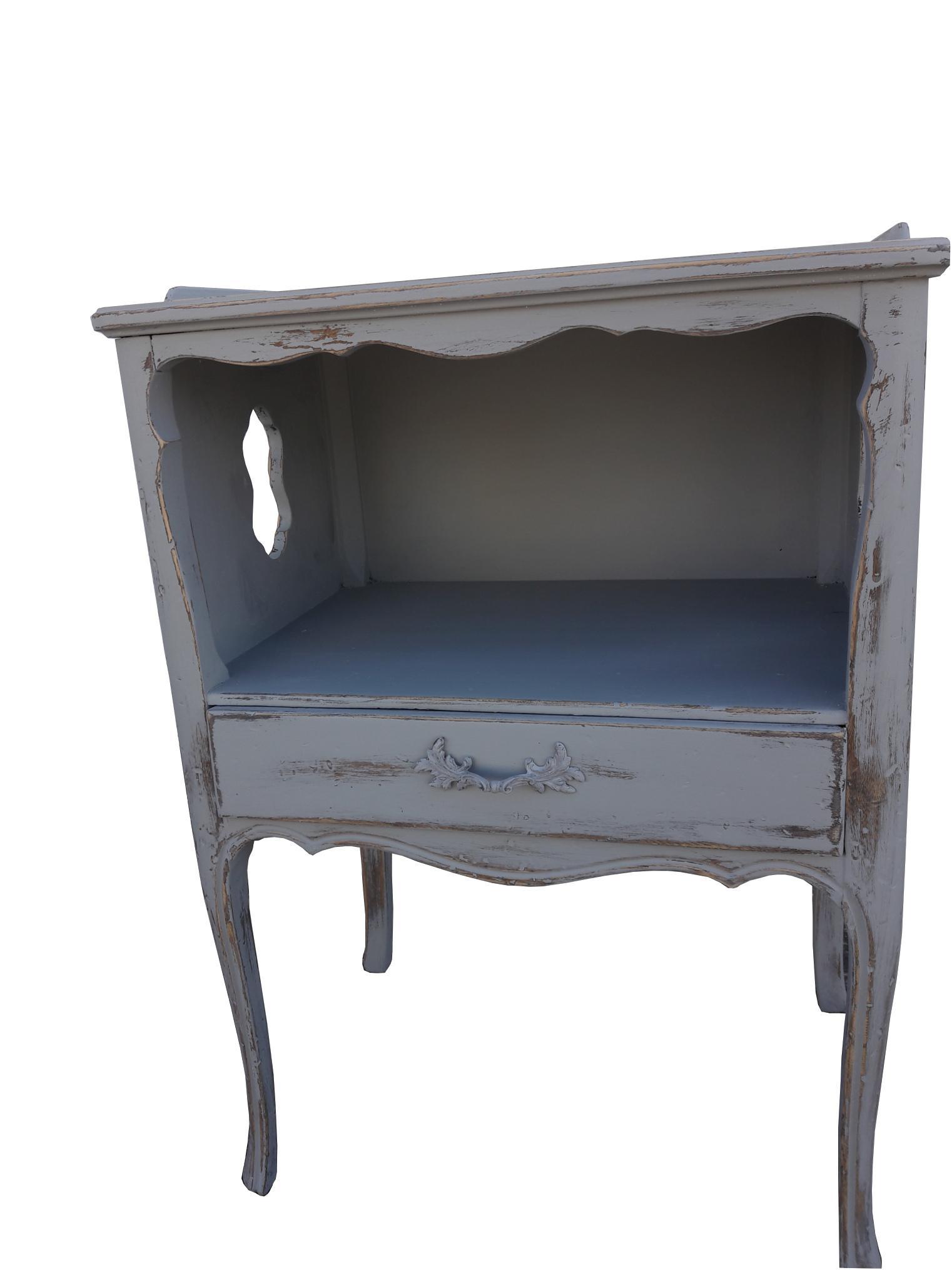 Pair Vintage French Farmhouse Painted Nightstands French Shabby Paris  Apartment Cottage Night Stands French Gray Distressed Night Tables.