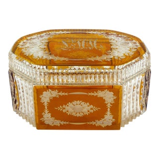 Bohemian Glass Cut & Engraved Amber to Clear Lidded Dresser Box