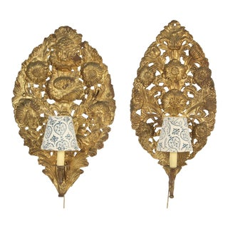 Matched Baroque Style Brass Repousse Single Light Wall Sconces - a Pair For Sale