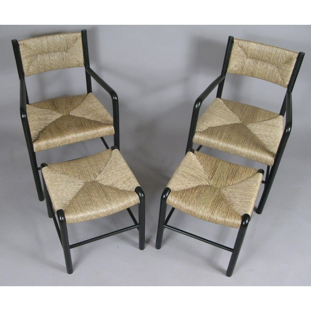 Italian 1930s Italian Lacquered Birch Chairs and Ottomans- 4 Pieces For Sale - Image 3 of 11