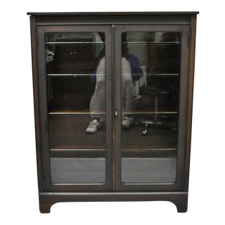Antique Double Glass Door Alligatored Mahogany Bookcase For Sale