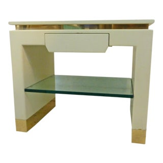 Crisp 1980s Karl Springer Era/Style Creamy Lacquer & Brass Night Stand For Sale