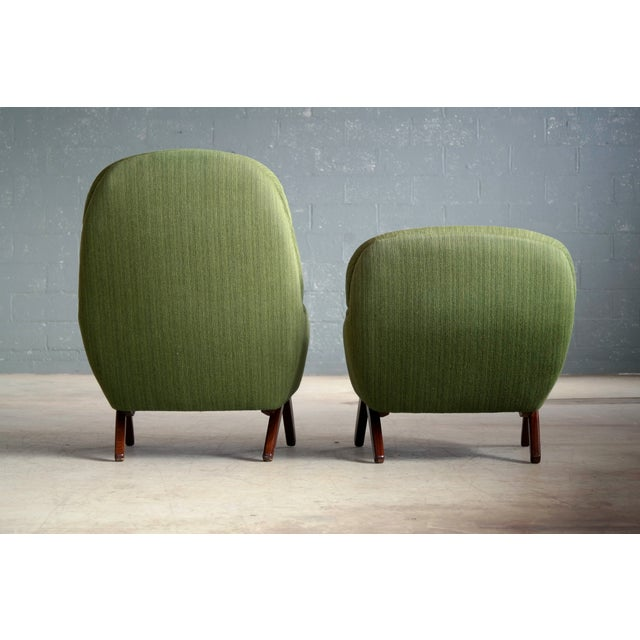 Danish Illum Wikkelso Style High and Low Lounge Chairs by Leif Hansen - a Pair For Sale - Image 11 of 13