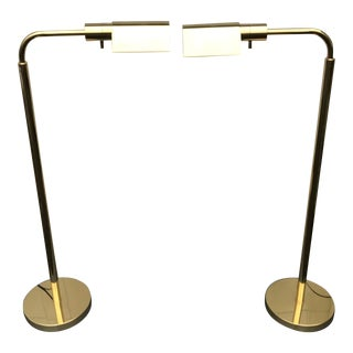 J. Mendizabal for Industria Argentina Brass Floor Reading Lamps - a Pair For Sale