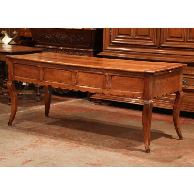 18th Century French Louis XV Carved Cherry Desk With Drawers and Pullout Trays For Sale - Image 12 of 13