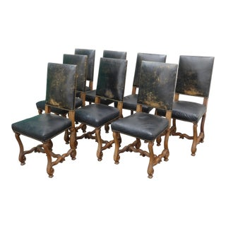 Vintage Spanish Revival Rustic Black Leather Dining Chairs - Set of 8