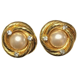 Chanel Gold Twist With Pearl and Diamante Clip Earrings 1995 A For Sale