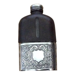 English Flask Black Leather Upper and Silver Metal Cup and Lid For Sale