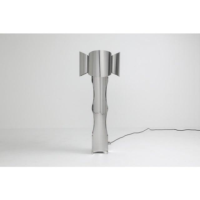 1970s Post-Modern Chromed Steel Floor Lamp by Maison Charles - 1970s For Sale - Image 5 of 10