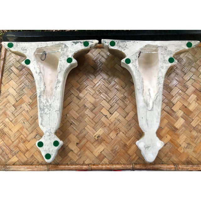 Neoclassical Hollywood Regency Gilt Plaster Wall Shelf Bracket Corbels - a Pair For Sale - Image 9 of 12