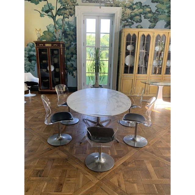 1960s Oval Knoll Marble Top Dining Table For Sale - Image 5 of 13