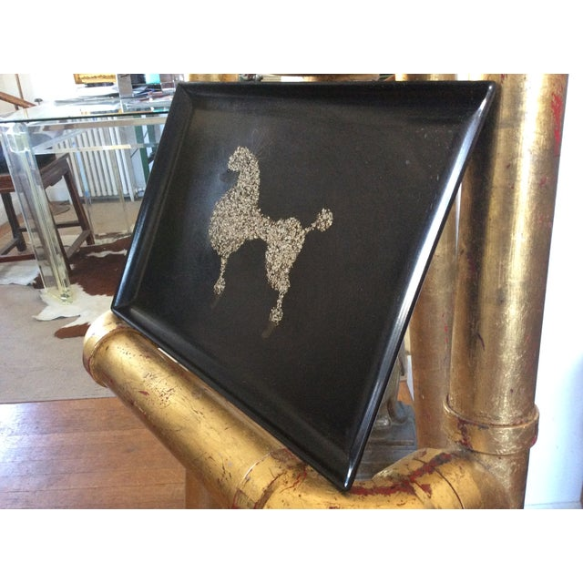 60s Black Poodle California Couro Abalone Tray - Image 4 of 8