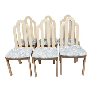 1980s Lane Art Deco Revival Cream Lacquer Dining Chairs - Set of 6 For Sale