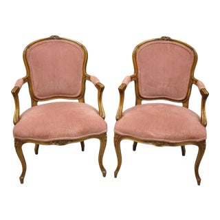 Pair of Antique French Provincial Louis XV Style Carved Walnut Small Arm Chairs For Sale