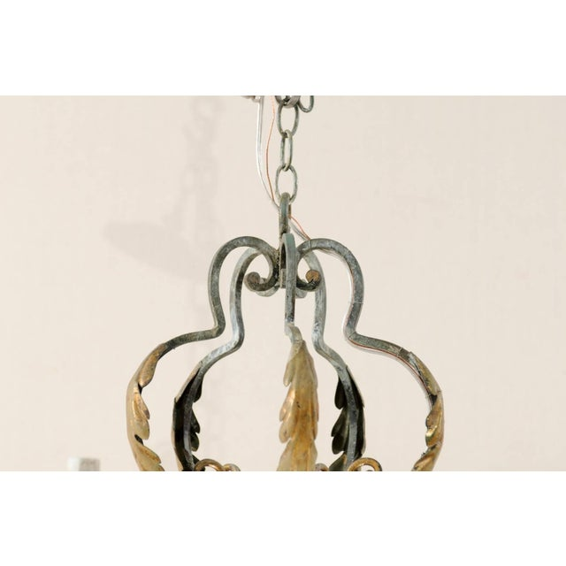 French Five-Light Painted Iron Chandelier Featuring Lovely Acanthus Leaf Motifs For Sale In Atlanta - Image 6 of 8