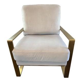 Genova Modern Glam Velvet Metal Arm Chair For Sale