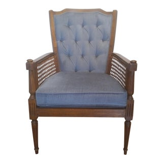 Mid-Century Wingback Blue Upholstered Caned-Side Chair For Sale
