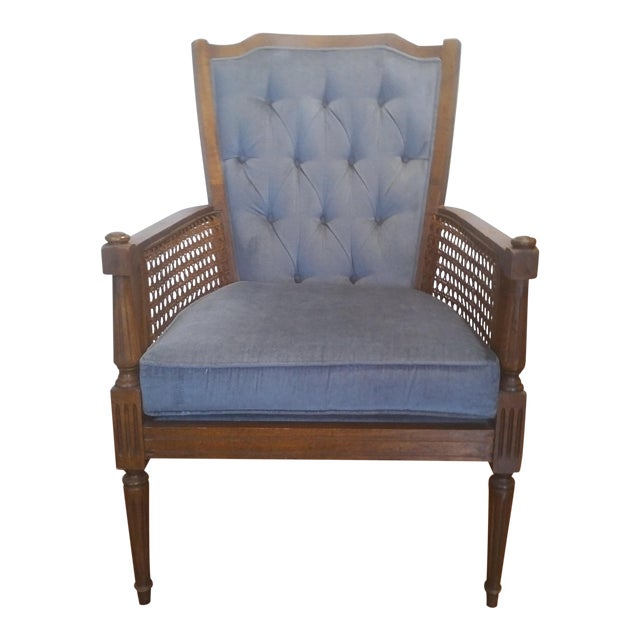 Mid-Century Wingback Blue Upholstered Caned/Cane Chair For Sale
