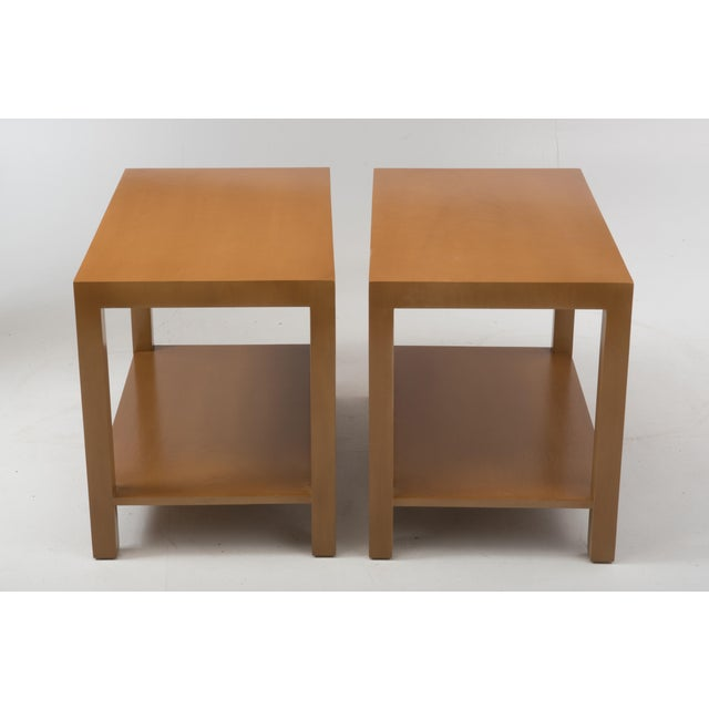 A pair of early Widdicomb parsons end tables designed by T.H. Robsjohn Gibbings and produced by Widdicomb in October of 1949.