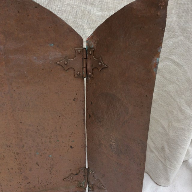 Copper Antique Hammered Copper Folding Screen For Sale - Image 7 of 10