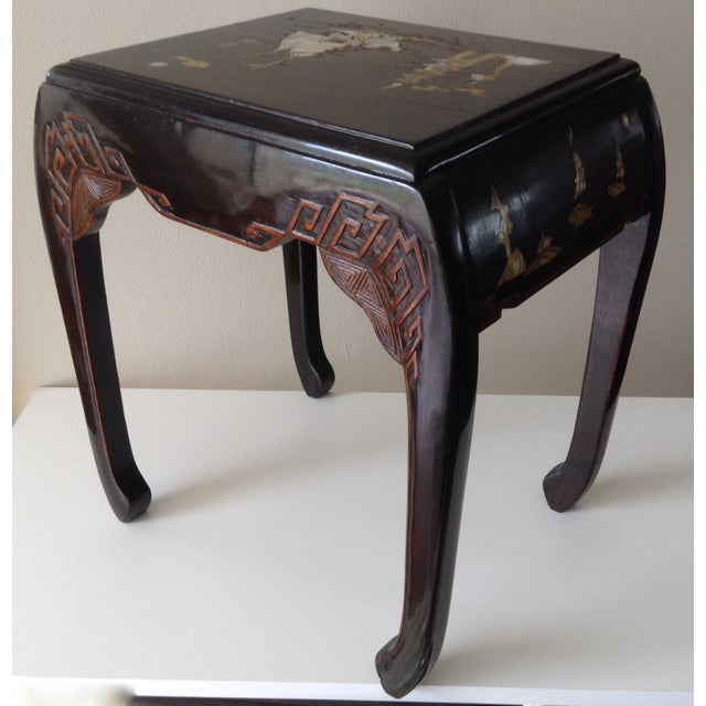 Asian Mother of Pearl & Abalone Inlay Side Table - Image 3 of 11