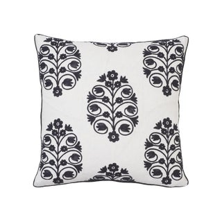 Schumacher Talitha Embroidery Pillow in Blackwork For Sale