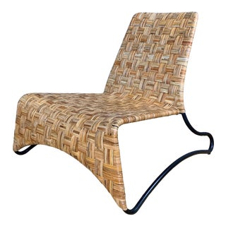 Late 20th Century Continental Woven Cane and Blackened Steel Lounge Chair For Sale