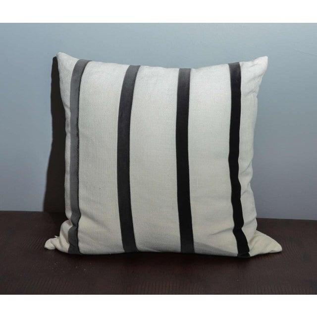 Cream Linen Pillow With Gray Velvet Stripe - Image 2 of 3