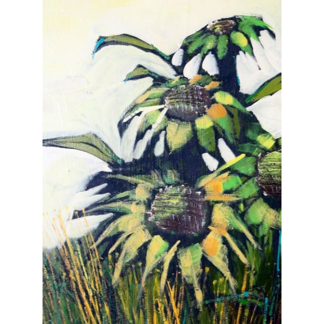 Mid-Century Modern Mid-Century Original Sunflowers Painting on Board For Sale - Image 3 of 5