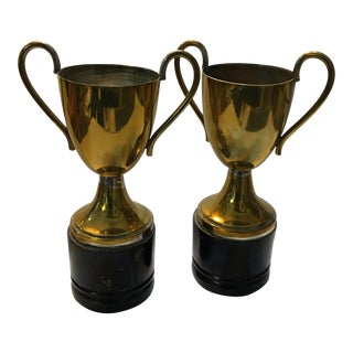 1953 Mixed Doubles & Singles Tennis Trophies on Bakelite Bases - A Pair For Sale