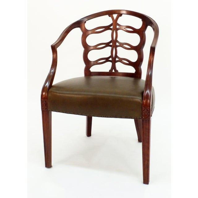 Hepplewhite Carved Open Back Chair For Sale - Image 3 of 5