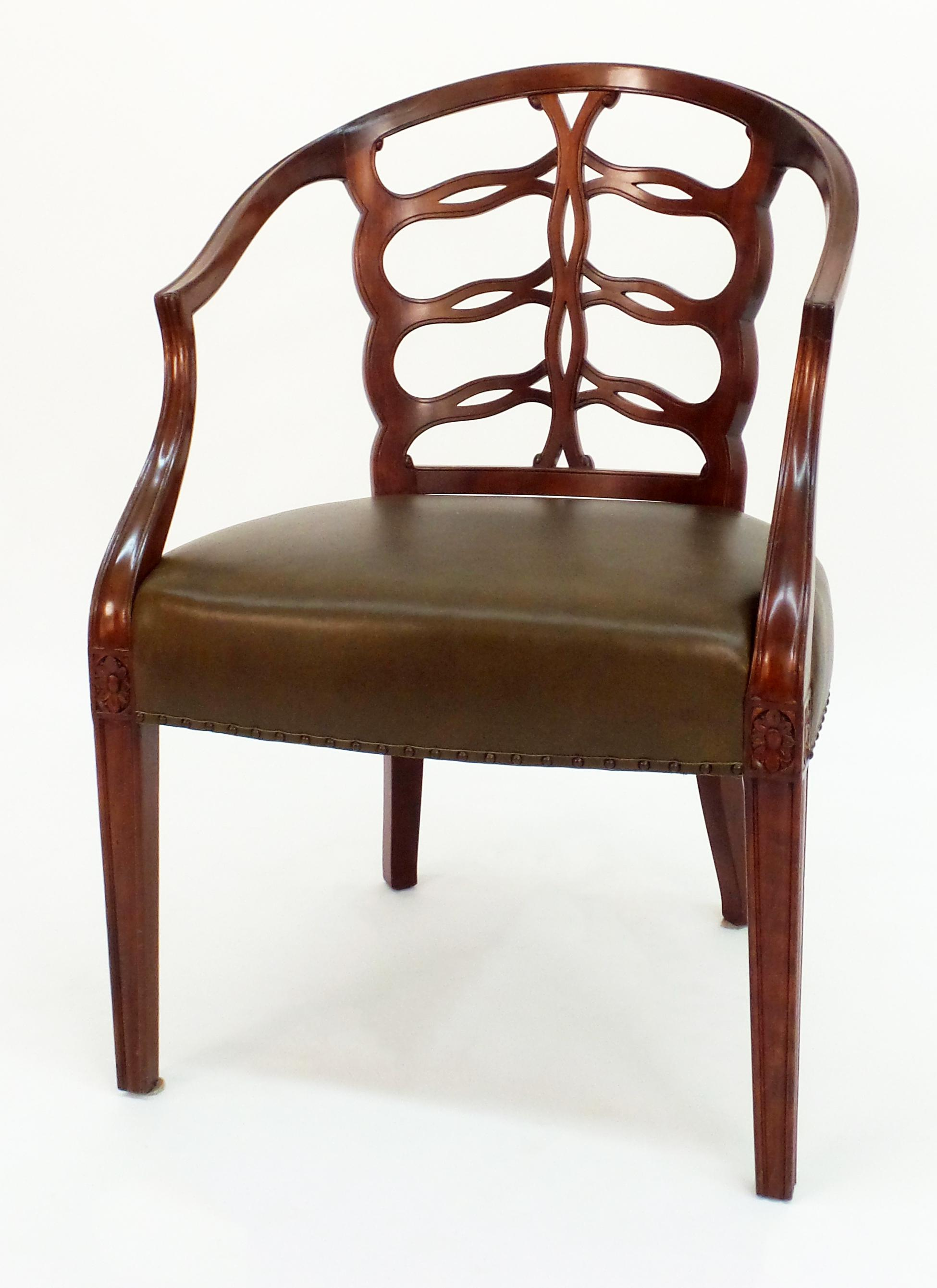 Hepplewhite Carved Open Back Chair For Sale   Image 3 Of 5