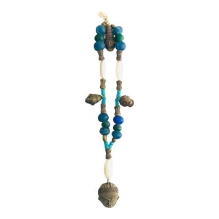 African Recycled Tribal Trade Bead, Agate, and Brass Wall Hanging For Sale