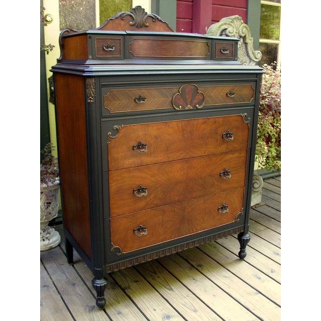 Vintage Flame Walnut & Black Highboy Dresser - Image 2 of 10