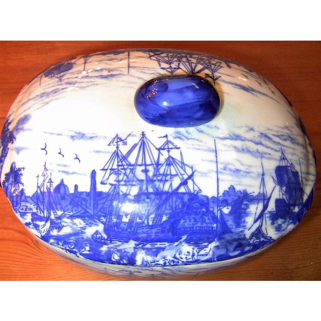 Ironstone China Pair of 19c Staffordshire Ironstone Lidded Tureens of Shipping Scenes For Sale - Image 4 of 13