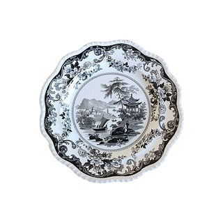 1840s Black Transferware Wall Plate For Sale