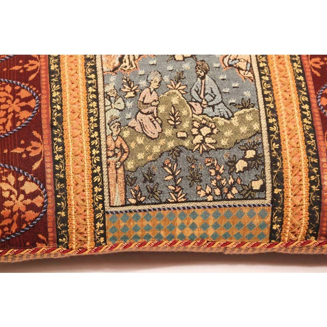 Middle Eastern decorative throw pillow and tapestry. Luxury silk in beige with an accent textile fragment with a Middle...