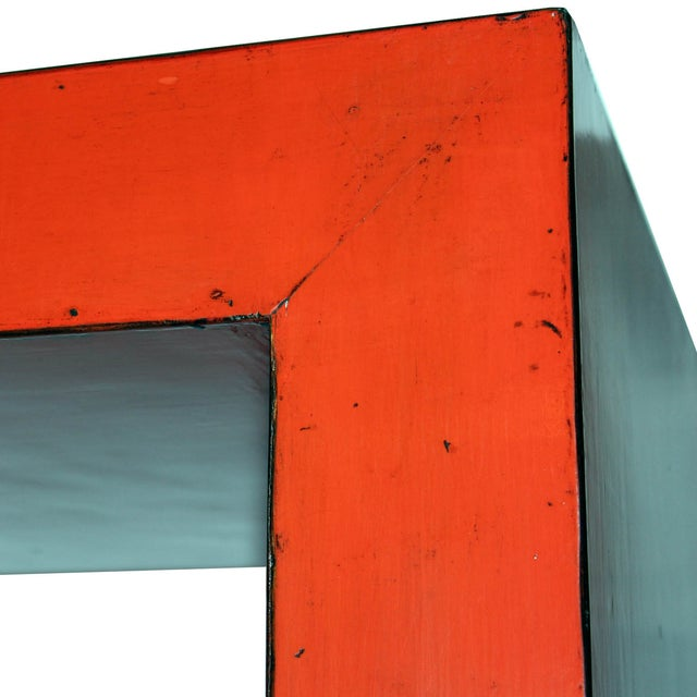 Red-Orange Contemporary Open Side Table For Sale - Image 4 of 6