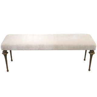 Marc Bankowsky - Large Bench in Bronze and Velvet Mohair For Sale