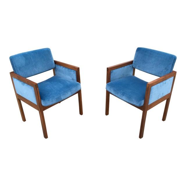 Robert John Walnut Arm Chairs in Blue Velvet For Sale