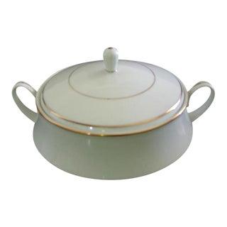 Noritake Gold & White Serving Bowl Lidded Handles