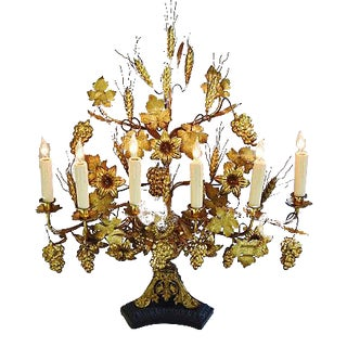 Large 1940s French Gold Gilt Ornate Centerpiece Lamp For Sale
