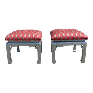Pair of Mid-Century Hollywood Regency Chinoiserie James Mont Style Foot Stools For Sale