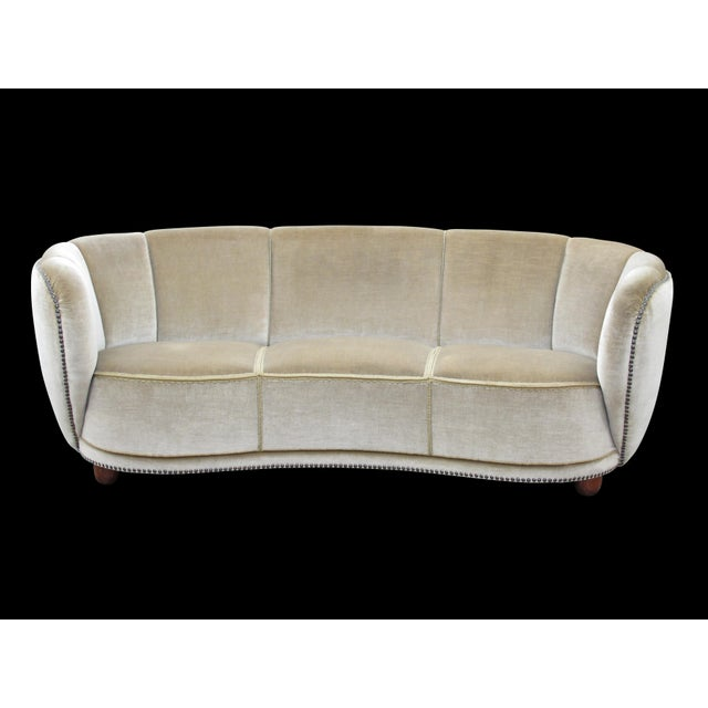 Brass 1930's Scandinavian Deco Mohair Sofa For Sale - Image 7 of 13
