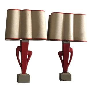 Vintage Mid Century Rembrandt Atomic Ceramic Table Lamps For Sale