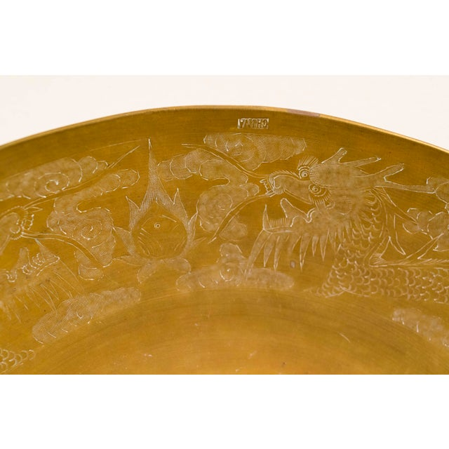 Asian Hand-Hammered Chinese Brass Bowl For Sale - Image 3 of 9