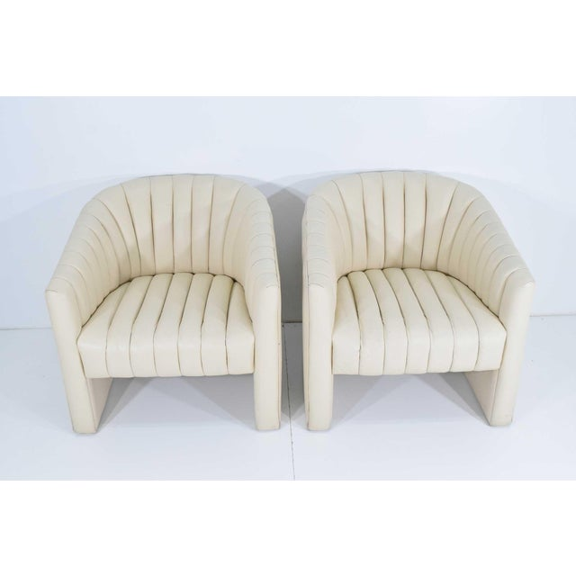 Contemporary 1980s Channel Tufted Barrel Back Tub Chairs - a Pair For Sale - Image 3 of 8