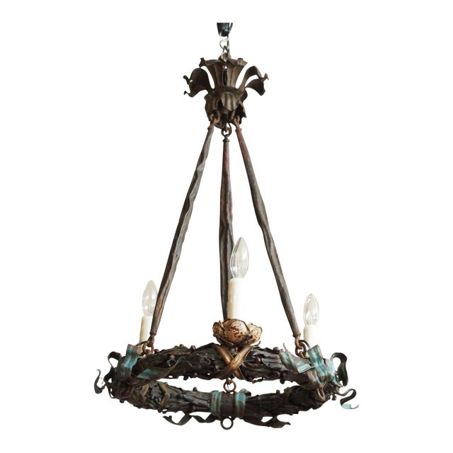 Polychrome Wreath Form Chandelier For Sale