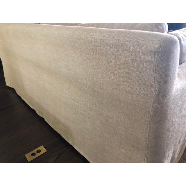 Fabric Modern Restoration Hardware Belgian Track Arm Slipcovered Sofa For Sale - Image 7 of 8