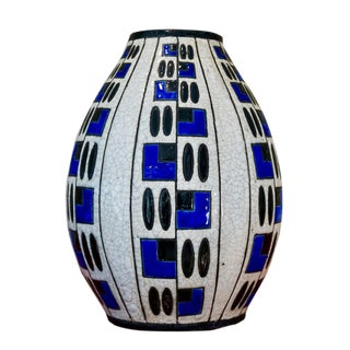 1920s Jacques Adnet Glazed Blue & Black Vase For Sale